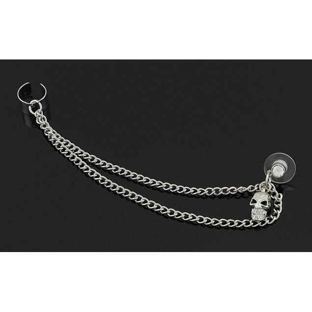 Chrome Dangling Skull Earring With Attached Ear Ear Cuffs
