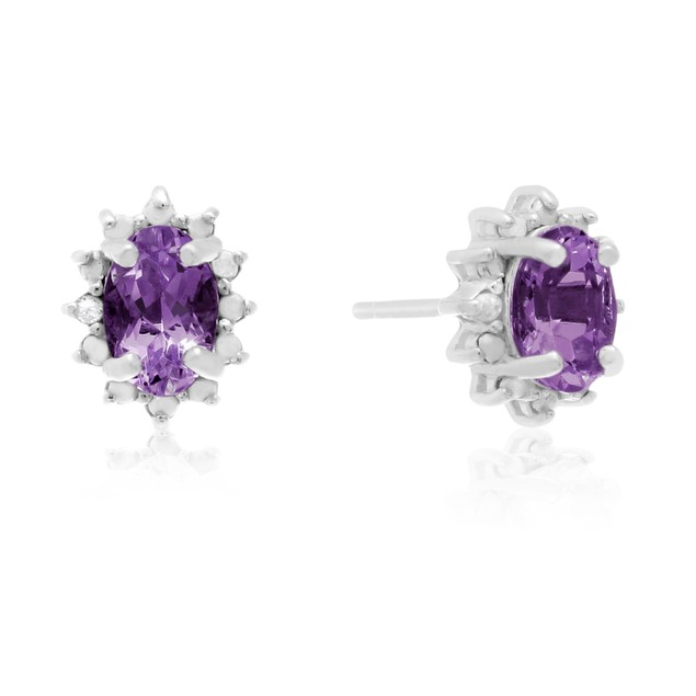 1 Ct Amethyst and Diamond Earrings In Sterling Silver