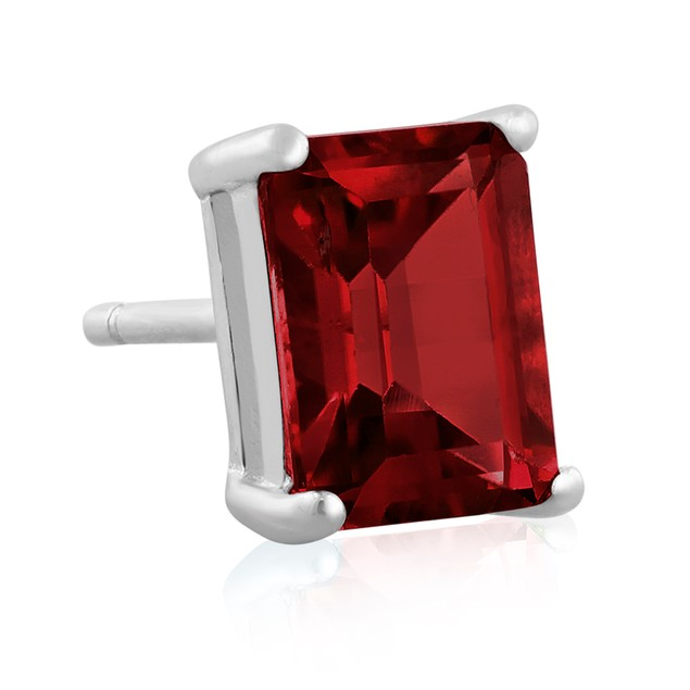 Emerald Cut Garnet Earrings