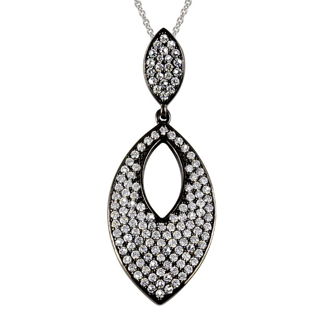 Black IP Plated Imitation Diamond Eye Shaped Necklace