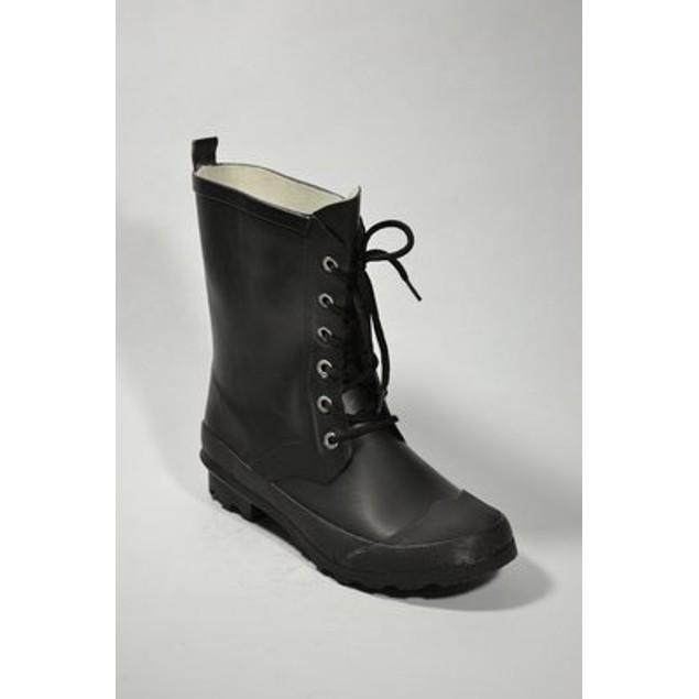 Classic Lace Up Rubber Rain Boots - Black
