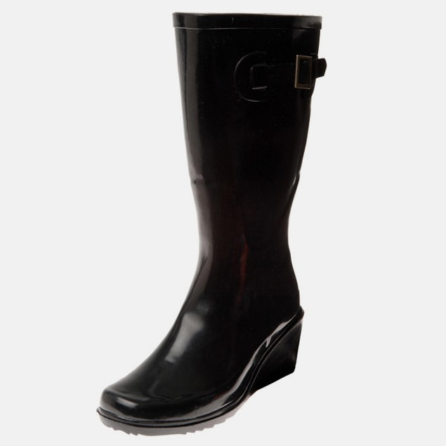 Women's Solid Black Glossy Rubber Wedge Boots
