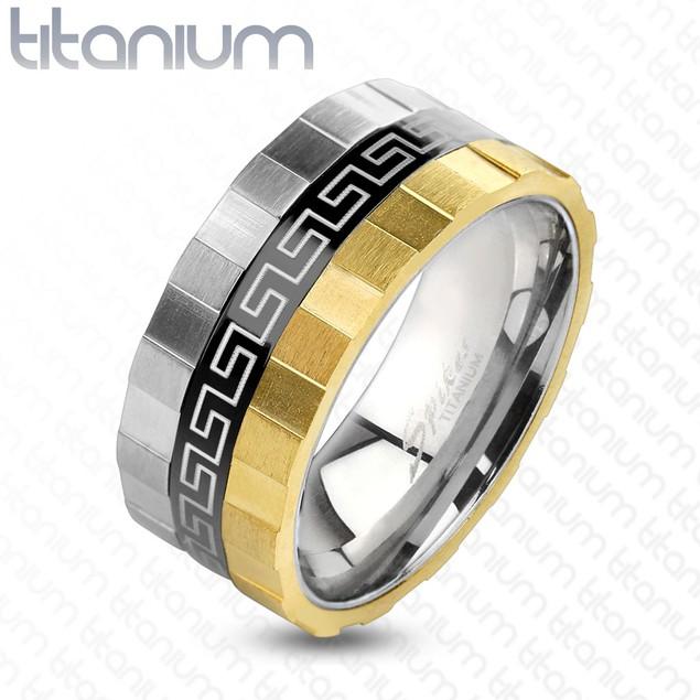 Grooved Edge 3 Toned Maze Design Solid Titanium Ring