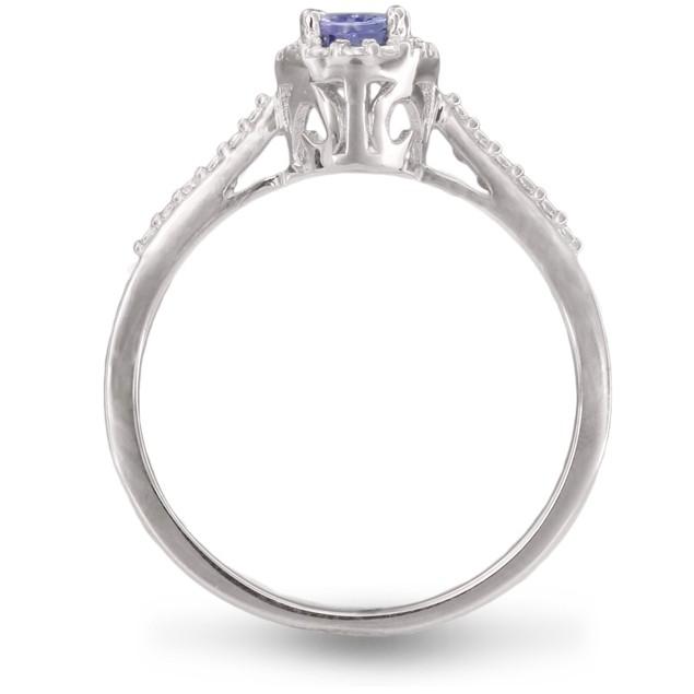 3/8ct Oval Shape Tanzanite and Halo Diamond Ring