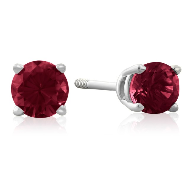 Ruby Stud Earrings in 14k White Gold