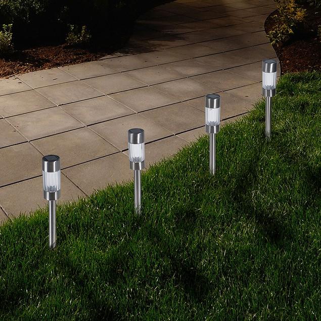 Pure Garden Outdoor Solar Yard Pathway Lights - Set of 6