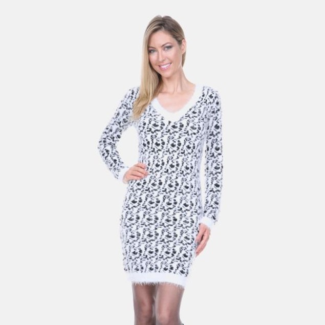 White Mark Black Leopard Sweater Dress