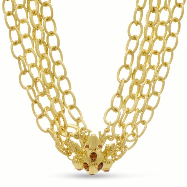 Gold Frog Sweater Necklace