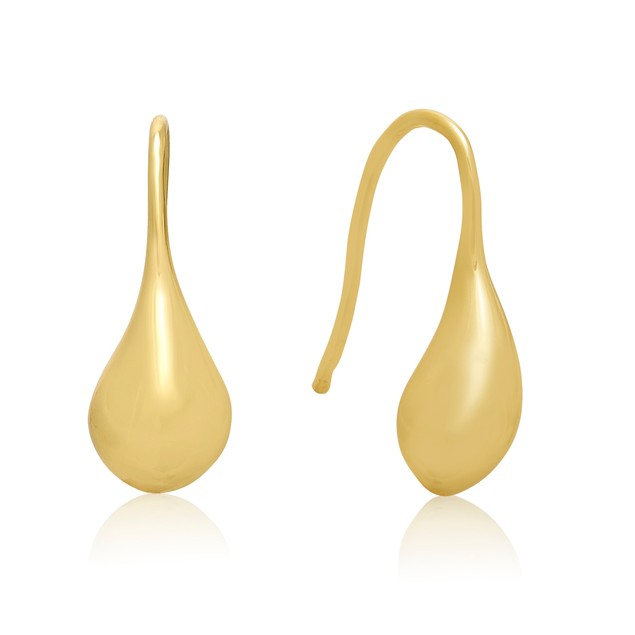 Gold Tone Teardrop Earrings, 1/2 Inch