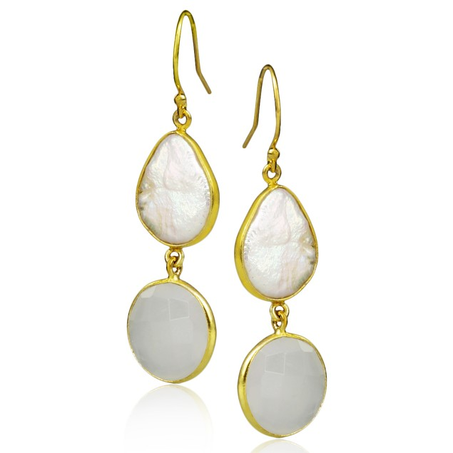 20ct Moonstone and Baroque Pearl Earrings in Gold Tone Silver