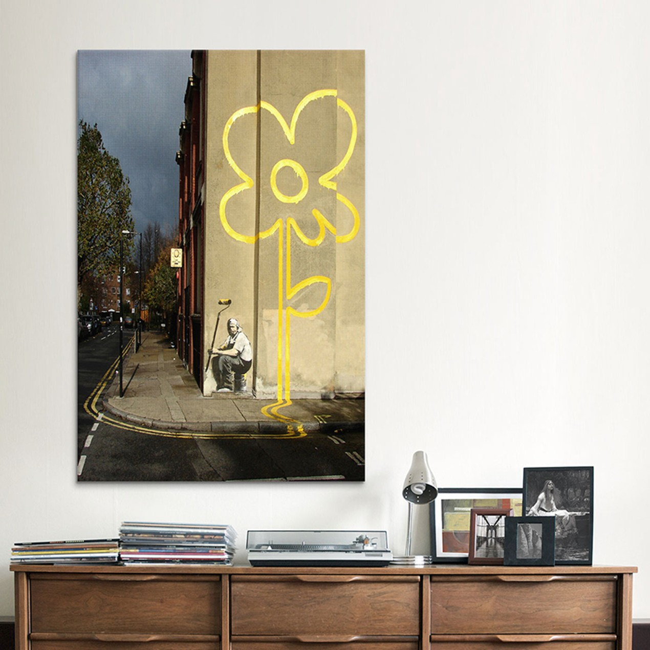 Yellow Lines Flower Painter by Banksy Canvas Print - Tanga