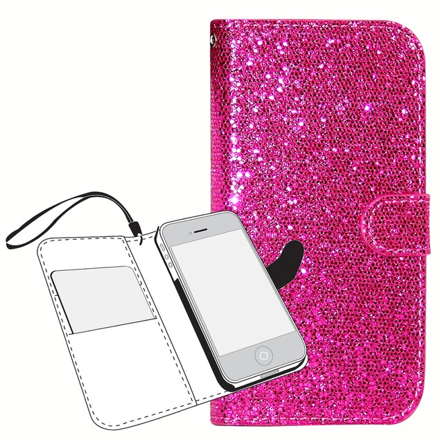 Glitter Wallet Folio Case for iPhone