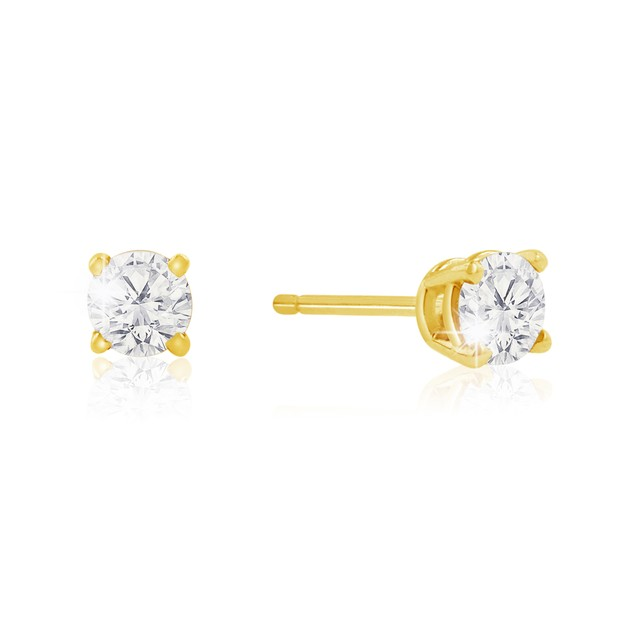 1/2ct Natural Genuine Diamond Stud Earrings In 10 Karat Yellow Gold