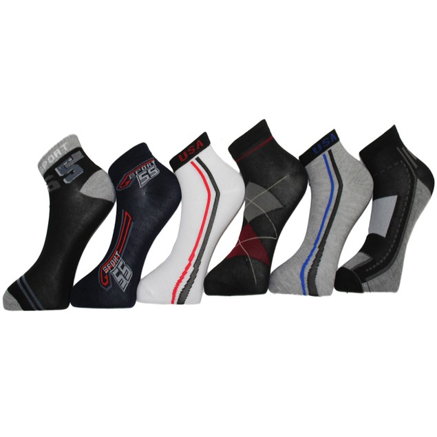 24 Pairs Frenchic Men's Patterned Cotton-Blend Low-Cut Sport Socks