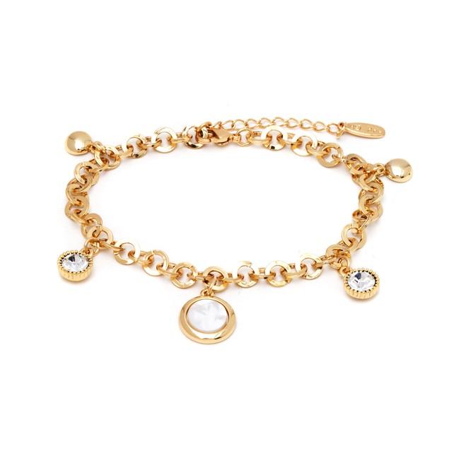 18K Gold & Swarovski Elements Charm Bracelet