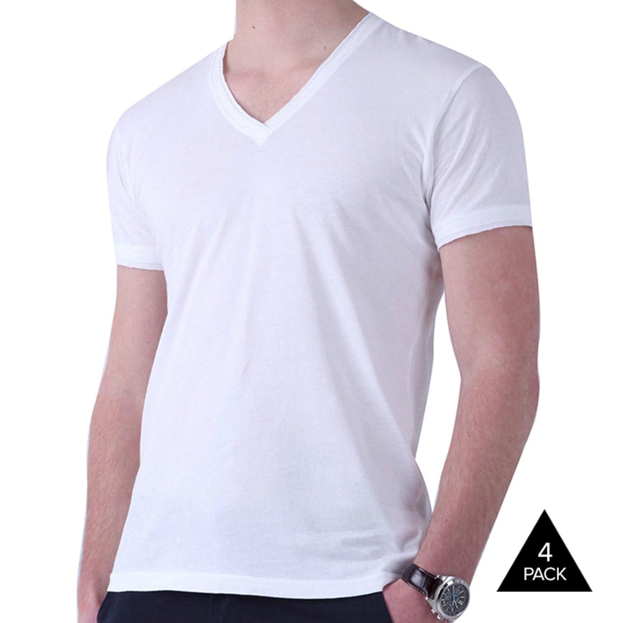 4d7622823d64f3 4-Pack Kirkland Signature Men s V-Neck T-Shirts - Tanga