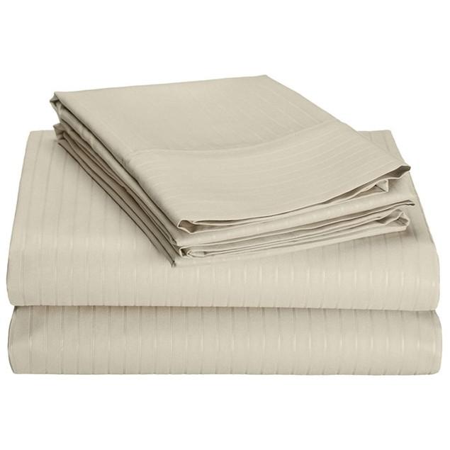 4-Piece Set: Hotel New York 1600 Series Pinstripe Embossed Sheets
