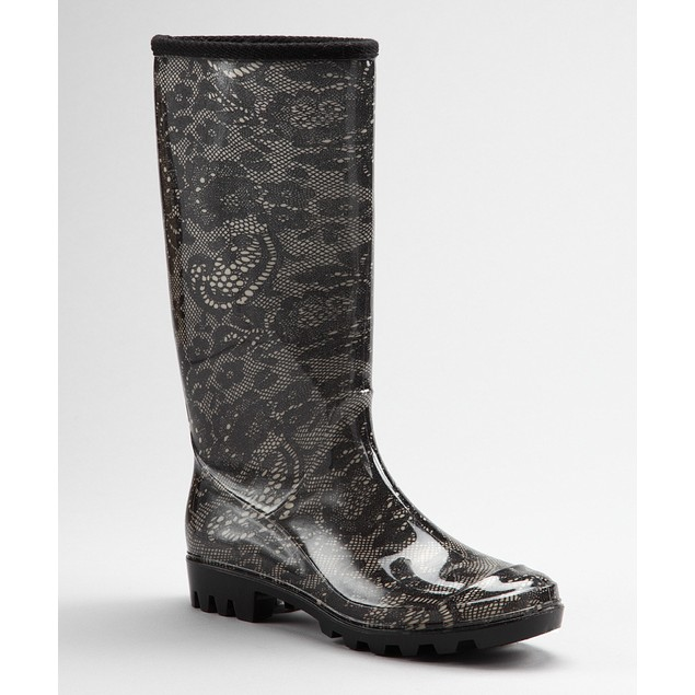 Black & White Victorian Floral Lace Boots