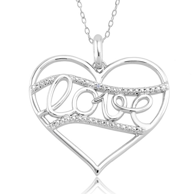 .10 Ct Diamond Accent Necklace - Straight Love