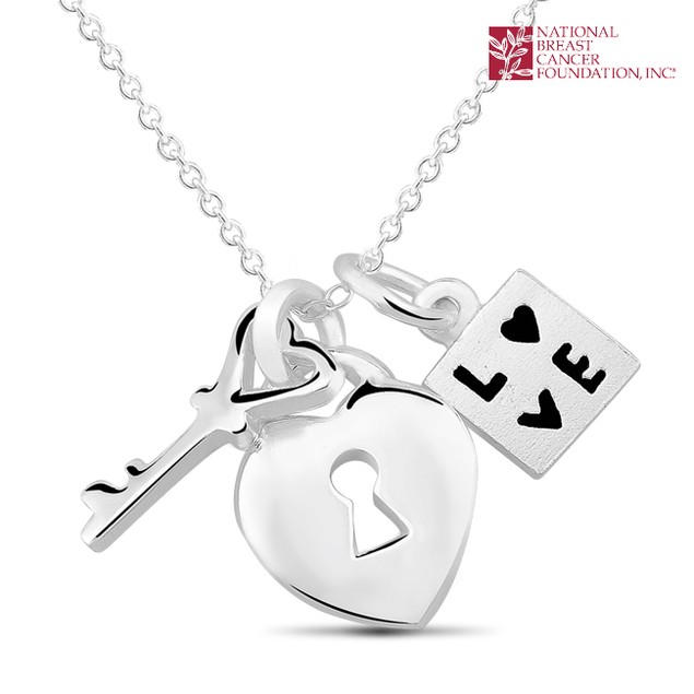 National Breast Cancer Foundation Inspirational Jewelry - Sterling Silver Key To My Heart Pendant