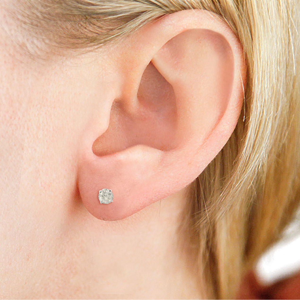 Certified 1 2ct Natural Genuine Diamond Stud Earrings In 14 Karat White Gold