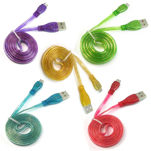 3-Pack:  Glitter Cable For Micro USB