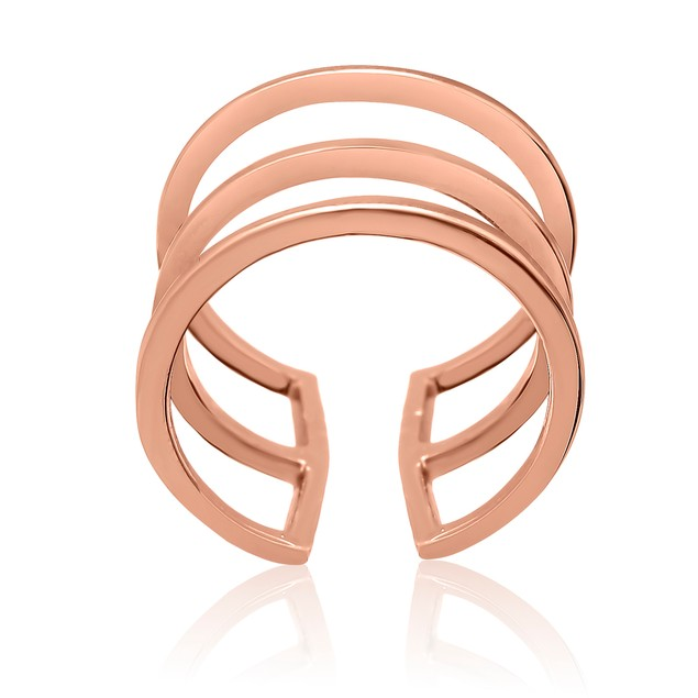 Rose Gold Tri Band Spacer Ring
