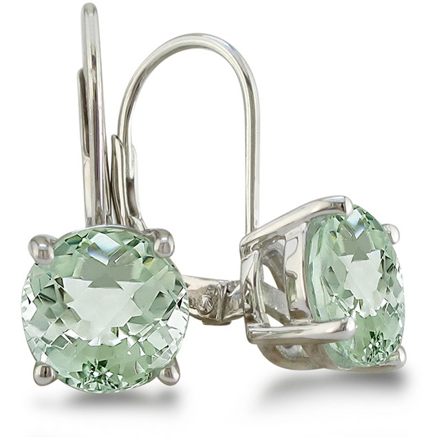 5ct Round Green Amethyst Leverback Earrings in Sterling Silver