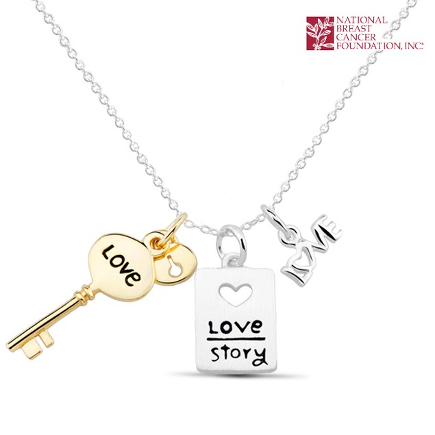National Breast Cancer Foundation Inspirational Jewelry - Sterling Silver Love Story Pendant