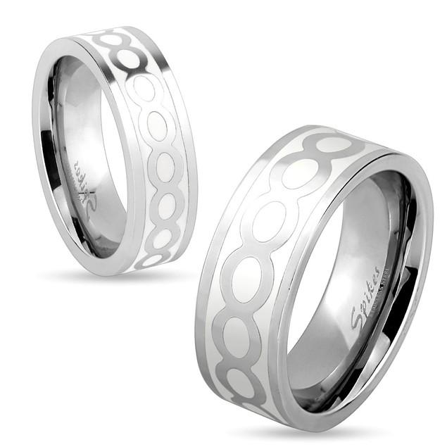 Shiny Infinite on White Center Stainless Steel Ring