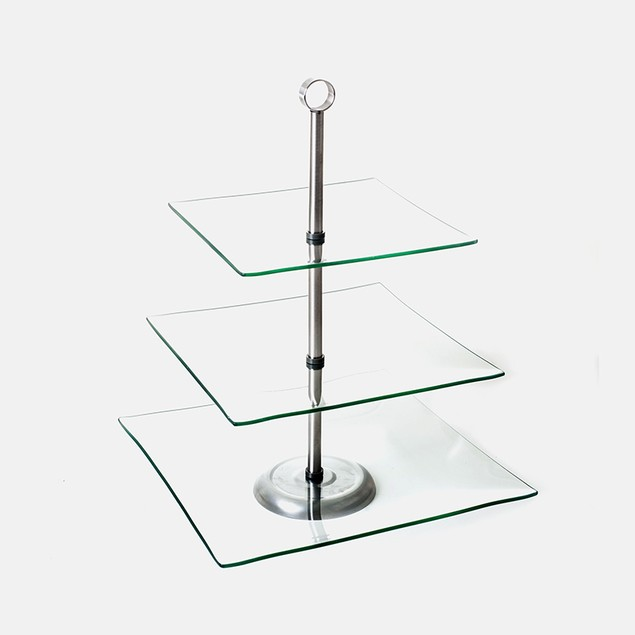 Chef Buddy Three Tier Square Glass Buffet and Dessert Stand