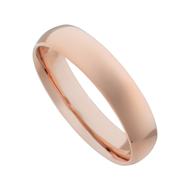 Glossy Mirror Polished Rose Gold IP Dome Band Stainless Steel Ring
