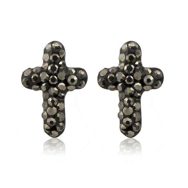 Sterling Silver Sparkling Crystal 10mm Stud Earrings - Cross Grey