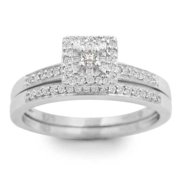 1/4ct Pave Diamond Bridal Set; Sterling Silver