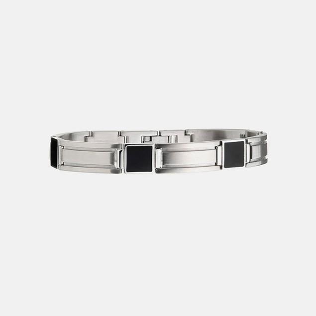 Men's Stainless Steel & Black IP Bracelet