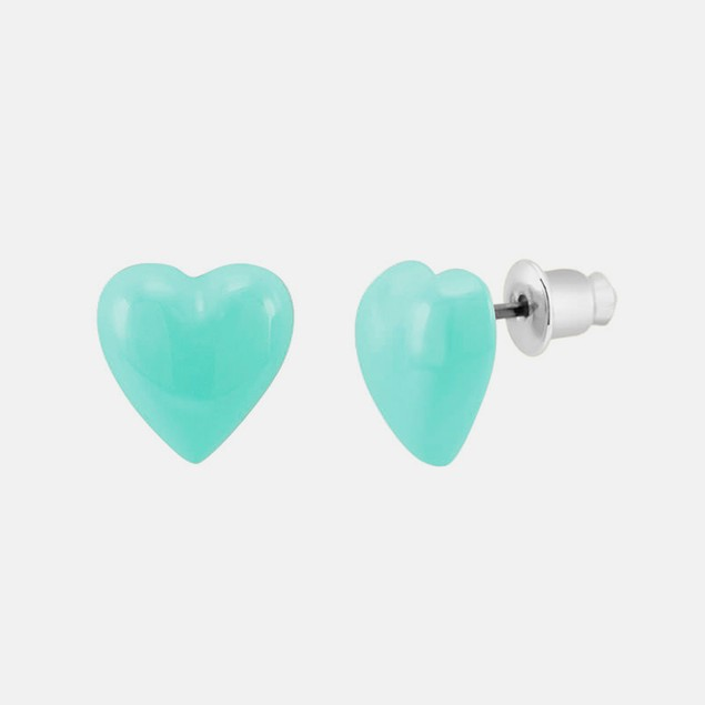 Enamel Heart Stud Earrings - Aqua