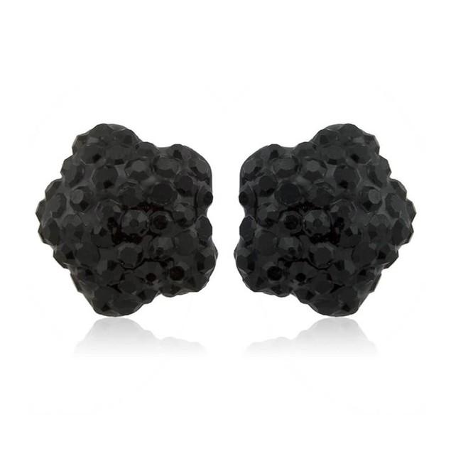 Sterling Silver Sparkling Crystal 10mm Stud Earrings - Flower Jet Black