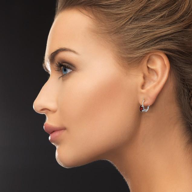 Oval Garnet Solitaire Leverback Earrings