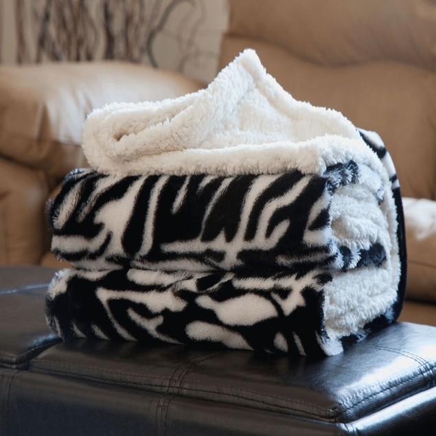 Lavish Home Fleece Sherpa Throw - Zebra