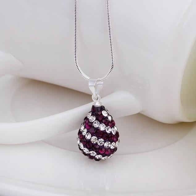 Multi-Toned Austrian Stone Pear Necklace - Royal Lavender