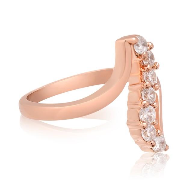 1/2 Carat Simulated Diamond Journey Ring In 18 Karat Rose Gold Overlay