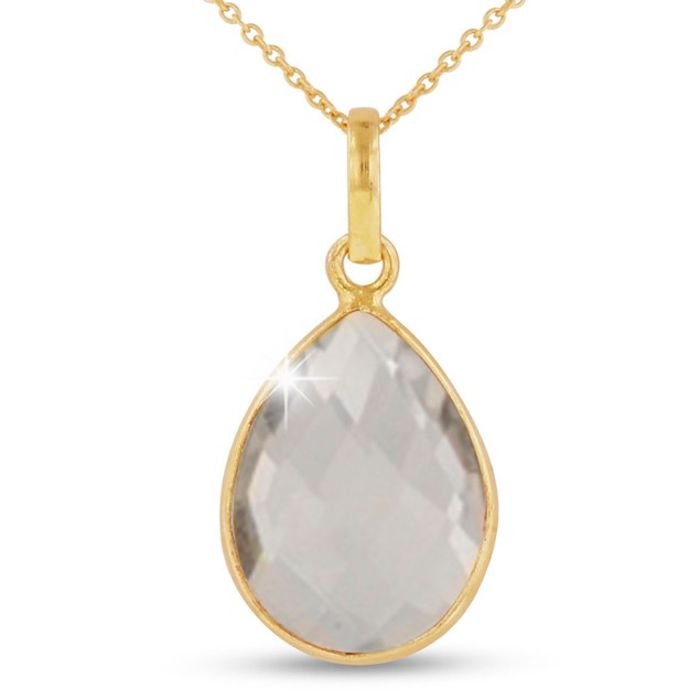 10ct Clear Quartz Teardrop Necklace in 18k Gold Overlay