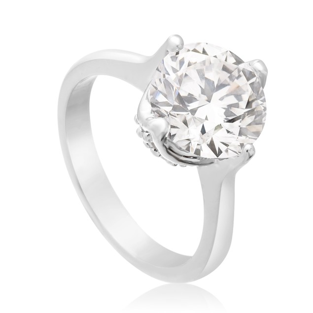 3 Carat Created Diamond Rotated Prong Engagement Ring