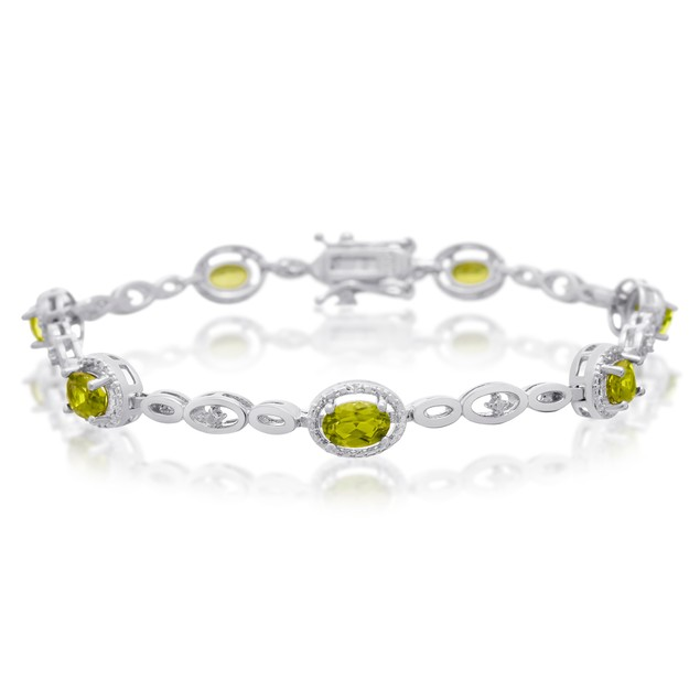 Peridot and Halo Diamond Bracelet