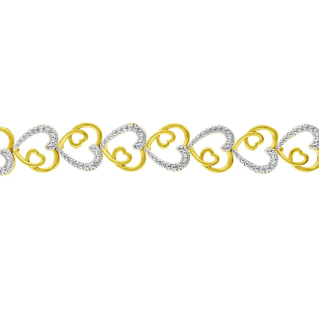 Two Tone Love Heart Diamond Bracelet
