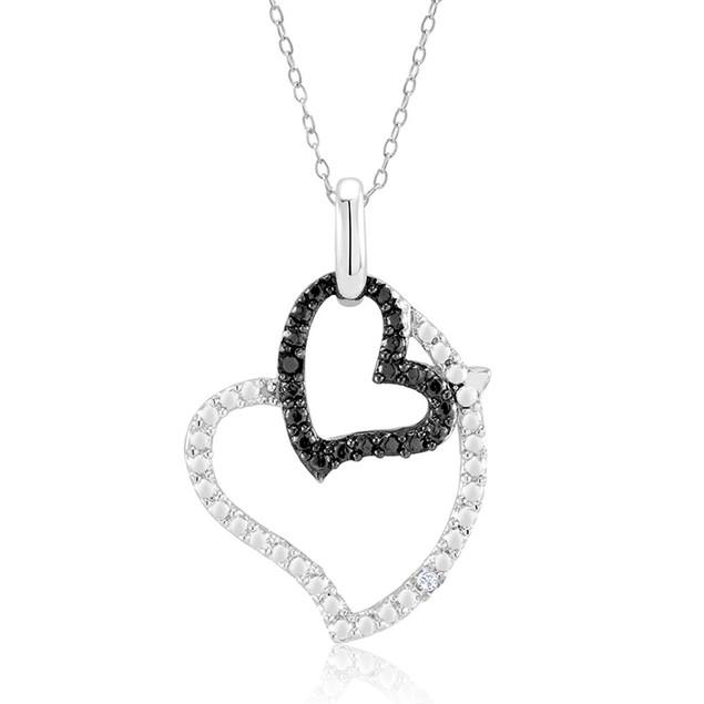 1/10 CTW Diamond Accent Sideways Heart Necklace