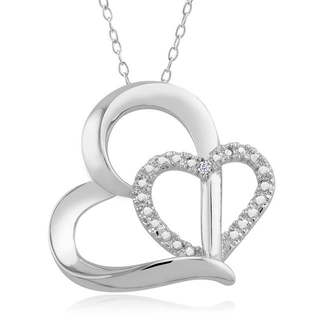 .10 Ct Diamond Accent Necklace - Double Heart