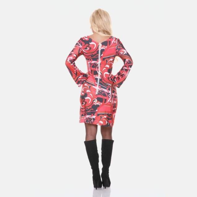 White Mark Guilana Long Sleeve Red Print Dress