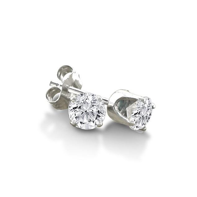 Certified 1/3ct Natural Genuine Diamond Stud Earrings In 10 Karat White Gold
