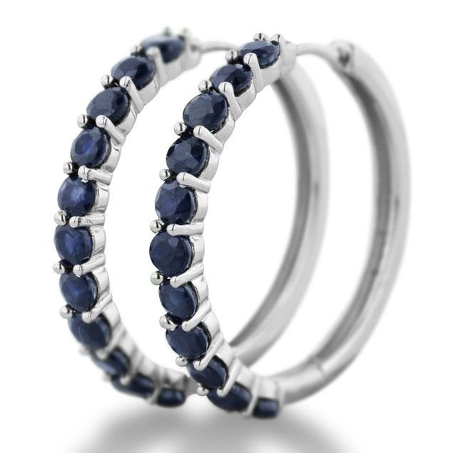 3.3ct Sapphire Hoop Earrings